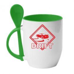 Кружка с керамической ложкой Drift - PrintSalon