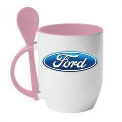 Кружка с керамической ложкой Ford 3D Logo - PrintSalon