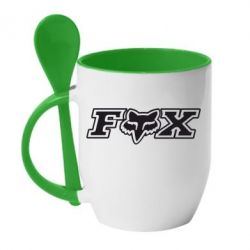 Кружка с керамической ложкой Fox Moto - PrintSalon