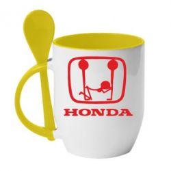 Кружка с керамической ложкой Honda - PrintSalon