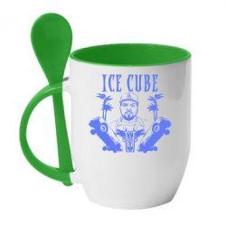 Кружка с керамической ложкой Ice Cube