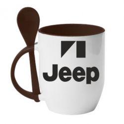 Кружка с керамической ложкой Jeep Logo