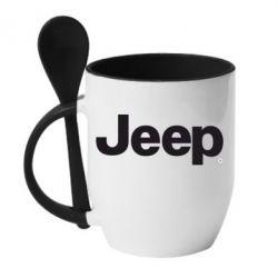 Кружка с керамической ложкой Jeep