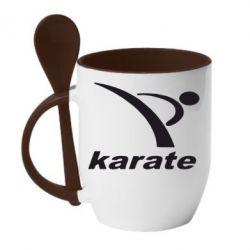 Кружка с керамической ложкой Karate