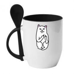 Кружка с керамической ложкой Кот с факом - PrintSalon