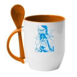 Кружка с керамической ложкой Козачина з люлькою - PrintSalon