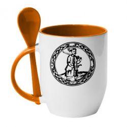 Кружка с керамической ложкой Козак з мушкетом - PrintSalon