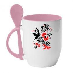 Кружка с керамической ложкой Квіти - PrintSalon
