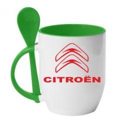 Кружка с керамической ложкой Логотип Citroen - PrintSalon
