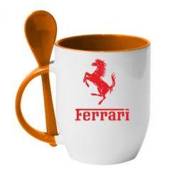 Кружка с керамической ложкой логотип Ferrari