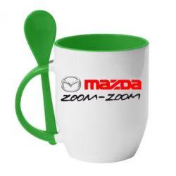 Кружка с керамической ложкой Mazda Zoom-Zoom