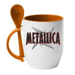 Кружка с керамической ложкой Metallica Logo - PrintSalon