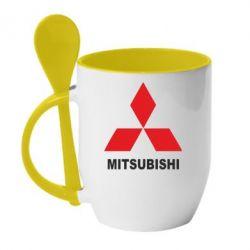 Кружка с керамической ложкой MITSUBISHI - PrintSalon