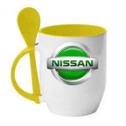 Кружка с керамической ложкой Nissan Green