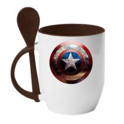 Кружка с керамической ложкой Потрескавшийся щит Капитана Америка - PrintSalon