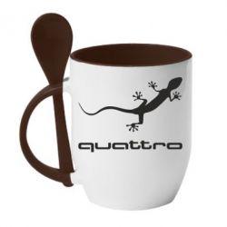 Кружка с керамической ложкой Quattro - PrintSalon