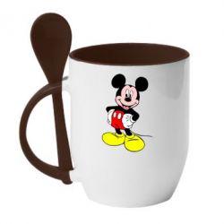 Кружка с керамической ложкой Сool Mickey Mouse - PrintSalon