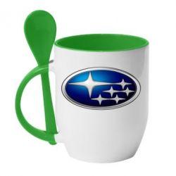 Кружка с керамической ложкой Subaru 3D Logo