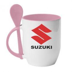 Кружка с керамической ложкой Suzuki - PrintSalon