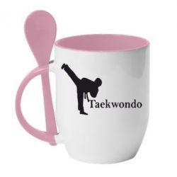 Кружка с керамической ложкой Taekwondo