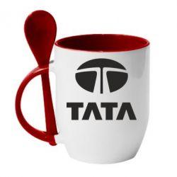 Кружка с керамической ложкой TaTa