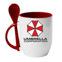 Кружка с керамической ложкой Umbrella - PrintSalon