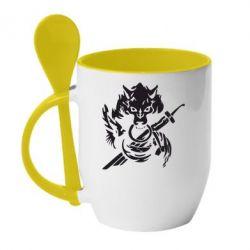 Кружка с керамической ложкой Волк с мечем