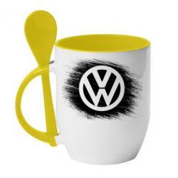 Кружка с керамической ложкой Volkswagen art