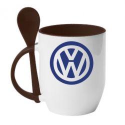 Кружка с керамической ложкой Volkswagen - PrintSalon