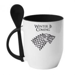 Кружка с керамической ложкой Winter is coming (Игра престолов) - PrintSalon