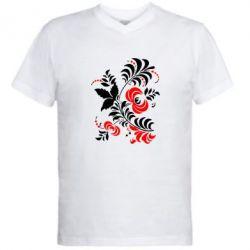 Мужская футболка  с V-образным вырезом Квіти - PrintSalon