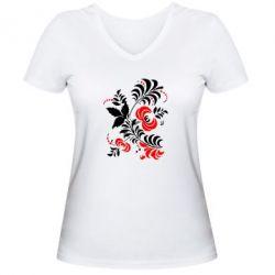 Женская футболка с V-образным вырезом Квіти - PrintSalon