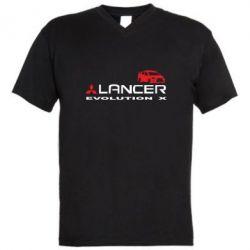 Мужская футболка  с V-образным вырезом Lancer Evolution X