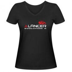 Женская футболка с V-образным вырезом Lancer Evolution X