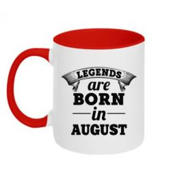Кружка двухцветная Legends are born in August