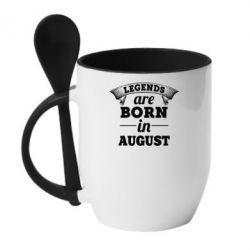 Кружка с керамической ложкой Legends are born in August - PrintSalon