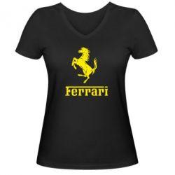 Женская футболка с V-образным вырезом логотип Ferrari