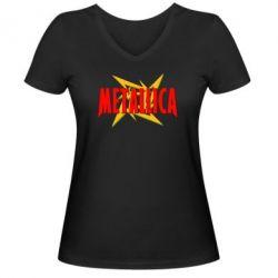Женская футболка с V-образным вырезом Metallica Logo - PrintSalon