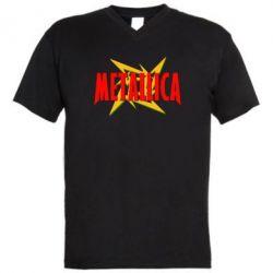 Мужская футболка  с V-образным вырезом Metallica Logo - PrintSalon