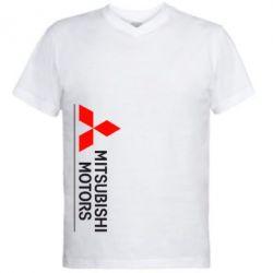Мужская футболка  с V-образным вырезом Mitsubishi Motors лого