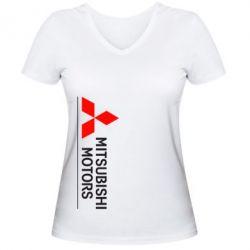 Женская футболка с V-образным вырезом Mitsubishi Motors лого