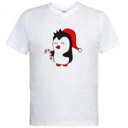Чоловічі футболки з V-подібним вирізом Новорічний пінгвін - купити в ... 0587ef187cdc1