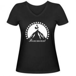 Женская футболка с V-образным вырезом P**nomaunt - PrintSalon