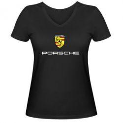 Женская футболка с V-образным вырезом Porsche - PrintSalon