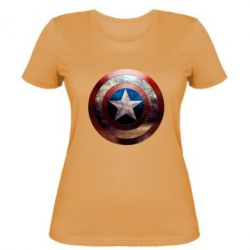 Женская футболка Потрескавшийся щит Капитана Америка - PrintSalon