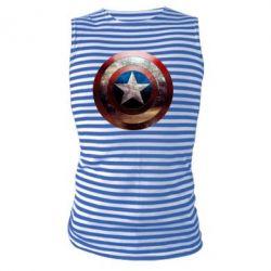 Майка-тельняшка Потрескавшийся щит Капитана Америка - PrintSalon
