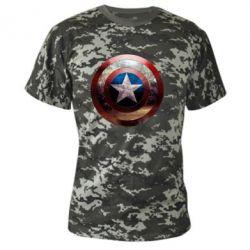 Камуфляжная футболка Потрескавшийся щит Капитана Америка - PrintSalon