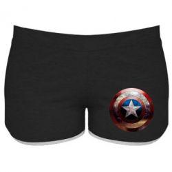 Женские шорты Потрескавшийся щит Капитана Америка - PrintSalon