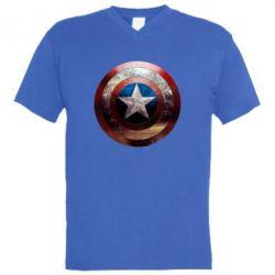 Мужская футболка  с V-образным вырезом Потрескавшийся щит Капитана Америка - PrintSalon