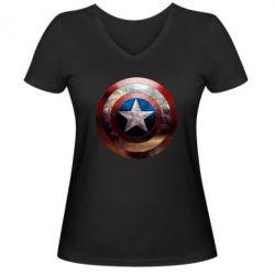 Женская футболка с V-образным вырезом Потрескавшийся щит Капитана Америка - PrintSalon